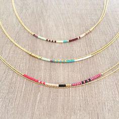 Multicolor Thin Double Strand Necklace