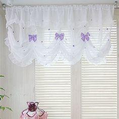 Balloon Shade Valance Curtain Window Treatment Kitchen Waverly Drape Lace Ribbon