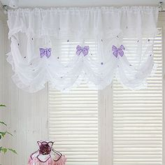 Balloon Shade Valance Curtain Window Treatment Kitchen Waverly Drape Lace Ribbon