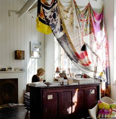 gorgeous curtain made from vintage scarves