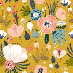 Mid-Century Modern Floral Print on Mellow-Yellow Rectangular Pillow by Modern Floral Wallpaper, Flower Wallpaper, Pattern Wallpaper, Floral Print Wallpaper, Surface Pattern Design, Pattern Art, Print Patterns, Motif Floral, Floral Prints