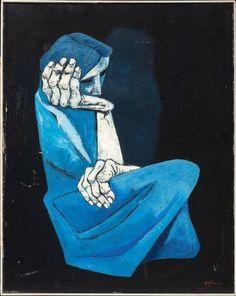ECUADOR.  Eduardo Kingman. fue un pintor predominantemente de temas sociales, por lo que se identificó con otro género artístico de la época (década del treinta): la literatura y por ello también se hizo amigo de los integrantes del denominado Grupo de Guayaquil.