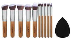 BSMALL Bamboo Silver Premium Synthetic Kabuki Makeup Brush Set Cosmetics Foundation Blending Blush Face Powder Brush Makeup Brush Kit Plus Black Teardrop Makeup Blender Sponges ** See this great product.
