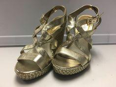 MICHAEL MICHAEL KORS Gold Leather Strappy Buckle Fasten Wedge Heels Sz 6 B1316    eBay