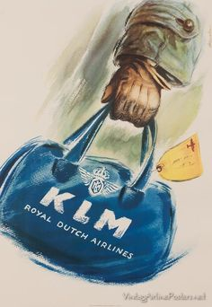 KLM Royal Dutch Airlines, Original Vintage Travel Poster, 33 x 23 inches. Vintage Advertising Posters, Vintage Travel Posters, Vintage Advertisements, Vintage Ads, Poster Vintage, Retro Posters, Movie Posters, Travel Ads, Airline Travel