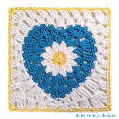 """10"""" Crochet Square with Daisy Center - Daisy Cottage Designs"""