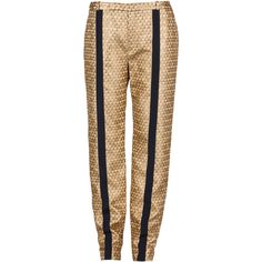 Kenzo Golden Jacquard Pant (11.565 RUB) ❤ liked on Polyvore featuring pants, trousers, pantalones, spodnie, gold, jacquard pants, jacquard trousers, tuxedo trousers, dinner suit and zipper pants