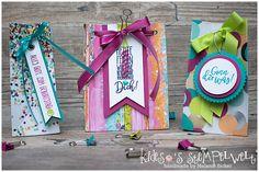 drei verschiedene Geschenktüten mit dem Stanz- und Falzbrett für Geschenktüten #giftbagpunchboard #stampinup #Stampin@firstBloghop #kidesosstempelwelt #happybirthday #incolors2017 #boxes