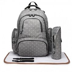 Stylish and practical Grey spotty baby changing bag. Baby Changing Bags, Diaper Backpack, Thing 1, Fashion Backpack, Maternity, Polka Dots, Product Launch, Pouch, Backpacks