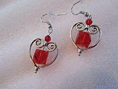Silver Heart Earrings, Valentine Earrings, Red Valentine Earrings, Red Earrings, Valentine Jewelry, Red Jewelry, Mothers Day Gifts, Earrings