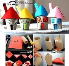 בתים מגלילי נייר טואלט