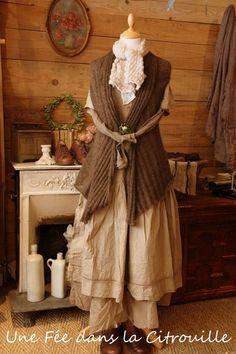mohair cardigan sleeveless khaki / brown Fairy in a Pumpkin  (brownie fairy)