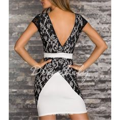 Sexy Jewel Neck Lace Splicing Short Sleeve Backless Dress For Women