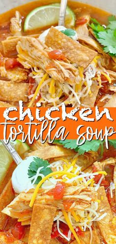 This Chicken Tortilla Soup combines oven-roasted fresh tomatoes, garlic, onion and jalapeño peppers with rotisserie chicken and a flavorful broth. #chickentortillasoup #tortillasoup #souprecipes Rotisserie Chicken Soup, Chicken Tortilla Soup, Mexican Tortilla Soup, Quick Soup Recipes, Easy Chicken Dinner Recipes, Delicious Recipes, Yummy Food, Kitchen Recipes, Cooking Recipes