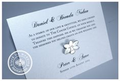 Charity Donation In Lieu Of Traditional Onierre Or Wedding Favours