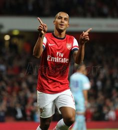 #Arsenal v Coventry, Theo celebrates hitting the back of the net in a clinical performance.