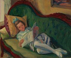 John Sloan Young Girl Reading 1917