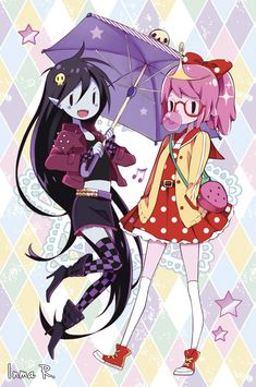 Another old pic from December 2014 or January 2015, can't remember well. I had fun drawing these two ladies This was made into a sparkly card and given as a present along with the Marceline x Bubbl...