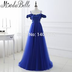 In Stock Royal Blue Spaghetti Straps Long Evening Dresses Beaded Sequins Abendkleider 2017 Avondjurk Party Gowns Formal Dresses