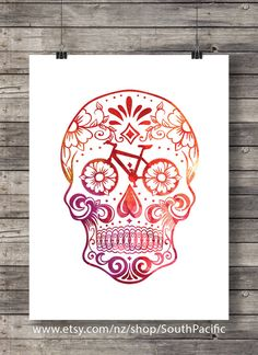 Watercolor Sugar Skull - Bike parts - bicycle sugar skull -Printable wall art  - Instant download digital print