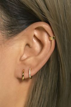 Affordable Huggie Hoop Earrings in Gold Vermeil, Sterling Silver, Rose Gold Vermeil. Hypoallergenic, Free U. Pretty Ear Piercings, Double Ear Piercings, Ear Peircings, Triple Piercing, Ear Piercings Chart, Types Of Ear Piercings, Ear Piercings Cartilage, Double Earrings, Multiple Earrings