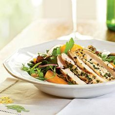 Arugula Salad with Chicken and Apricots This main course salad is an ideal lunch or light supper option. Plums would be a delicious substitute for the apricots. Serves 4 People Ingredients  - 2 (6-ounce) skinless, boneless chicken breast halves - 1 tablespoon minced fresh parsley - 2 teaspoons minced fresh tarragon - 1/2 teaspoon salt, divided - 1/4 teaspoon freshly ground black pepper - Cooking spray - 3 tablespoons olive oil - 4 teaspoons white wine vinegar - Dash of freshly ground ...