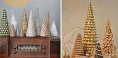 Dekoračné handmade stromčeky #2 | Stromčeky z lana, šišiek, látky a bižutérie
