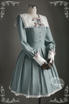 This is the new design Lolita OP dress from Penny House (An indie popular taobao brand), featuring detail oriented square collar, beautiful trim, detachable bows, etc. Pretty Outfits, Pretty Dresses, Beautiful Dresses, Cute Outfits, Emo Outfits, Stylish Outfits, Kawaii Fashion, Lolita Fashion, Cute Fashion