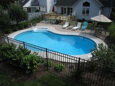 In Ground Pool Options - North Eastern Pools & Spas Backyard Pool Landscaping, Small Backyard Pools, Pool Fence, Pools Inground, Inground Pool Designs, Swimming Pools Backyard, Pool Spa, Gazebo On Deck, Lagoon Pool