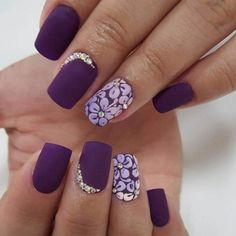 Getting wed in deep purple? This is a splendid mani for your special day.