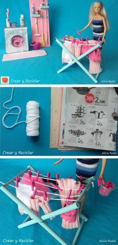 Después de mostrarte en publicaciones anteriores cómo hacer la lavadora, 7 miniaturas de productos de limpieza, la escoba, el recogedor, el cubo, la fregona, y algo más, para la casa de muñecas… tocaba pensar en cómo hacer un tendedero y esto es lo que se me ocurrió … y como siempre con reciclaje ♻️DIY Suscríbete a mi blog ✔️ #crearyreciclar http://crearyreciclar.com/?p=3187