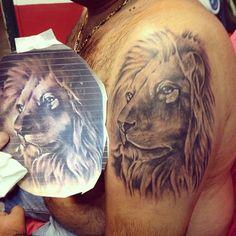 portrait tattoo lion tattoo realistic tattoo black and grey tattoo