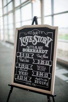 Chalkboard Sign At The Wedding Reception Detailing S Relationship Timeline Signs