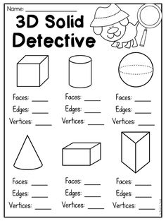Worksheet for students to count faces, edges and vertices. This packet is jammed full of worksheets 3d Shapes Worksheets, Shape Worksheets For Preschool, Geometry Worksheets, 2nd Grade Worksheets, Printable Worksheets, Free Printable, Coloring Worksheets, Nursery Worksheets, 2d And 3d Shapes