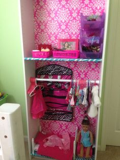 american girl doll room at the bottom hangers with clothes at the middle and little things at the top american girl furniture ideas