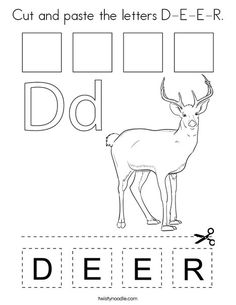 Cut and paste the letters D-E-E-R Coloring Page - Twisty Noodle Zebra Coloring Pages, Alphabet Coloring Pages, Preschool Letter Crafts, Letter A Crafts, Bible Activities For Kids, Bible For Kids, Preschool Assessment, Preschool Worksheets, Excersise For Kids