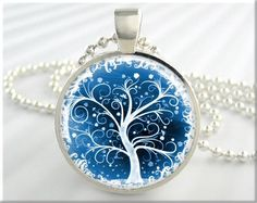 Tree Of Life Pendant Winter Snow Jewelry Resin Necklace Art