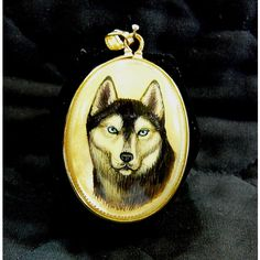 Hand Painted Cameo Siberian Husky Dog Pendant 14k Gold Fill Set Mother... ($35) ❤ liked on Polyvore featuring hand painted cameo