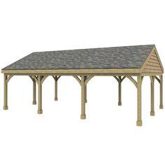 Wood rv carport plans woodworking wooden gable carport for Hip roof carport plans