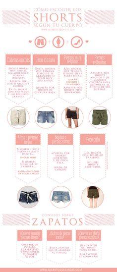 Encontrar el par de shorts perfectos nunca más será un dolor de cabeza. | 18 Guías visuales de estilo que toda mujer necesita en su vida