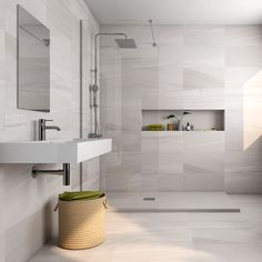 Looking to buy contemporary tiles? Check out Lakeland White, these tiles are made in Spain, are seriously cool and won't break the bank. Beige Tile Bathroom, Bath Tiles, Bathroom Wall, Modern Bathroom, Small Bathroom, Downstairs Bathroom, Bathroom Ideas, Do It Yourself Bathrooms, Contemporary Tile
