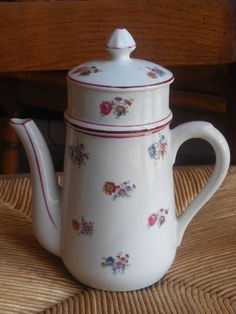 Vintage FRENCH ceramic COFFEE POT dating 1940 s/50 s - cute floral design