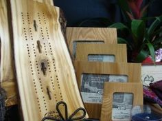 Wood From the Hood cribbage boards & picture frames. They make cutting boards too. All from reclaimed wood from around the Twin Cities.