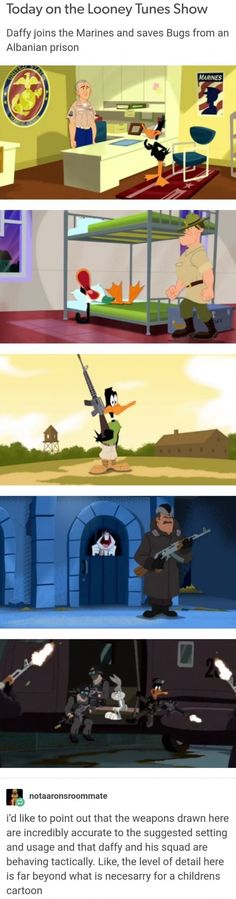 Today on the Looney Tunes Show Daffyjoins the Marines and saves Bugs from an Albanian prison - iFunny :) Tumblr Funny, Funny Memes, Funny Gifs, Deep Memes, Joining The Marines, Calvin And Hobbes, Cartoon Kids, Animation Film, Looney Tunes