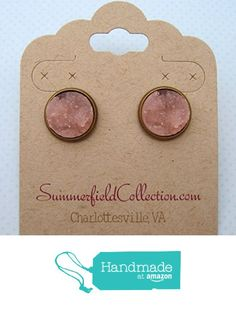 Antiqued Gold-Tone Stud Earrings 12mm Pink Faux Druzy Stone from Summerfield Collection http://www.amazon.com/dp/B019CWY9LC/ref=hnd_sw_r_pi_dp_x7VCwb15C5FGW #handmadeatamazon