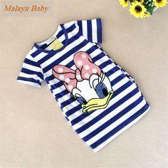 Malayu赤ちゃん2016最新夏ガールズストライプドレス子供漫画ドナルドダック、を双方で私のポケットドレス2-7年a122