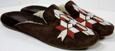 Women's Cole Haan Brown embroidered Suede Crape sole lined slipper shoe sz 8½ B #ColeHaan #SlipperShoes