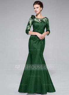 Corte trompeta/sirena Fuera del hombro Hasta el suelo Tafetán Encaje Vestido de madrina con Flores (008040831) - JJsHouse