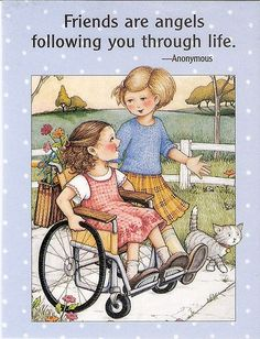 Friends Are Angels Following Through Life Magnet with Mary Engelbreit Artwork