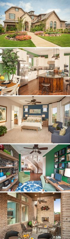 The McManus by David Weekley Homes in Creekside at Ridgeview is a 4  or 5 bedroom home that features a large open kitchen and family room layout, a luxurious spiral staircase and a large owners retreat. Custom home options include a covered porch, a larger shower in the owners retreat bathroom or an extra retreat area with a bathroom.